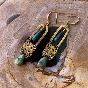 Handmade hammered gemstone filagree earrings